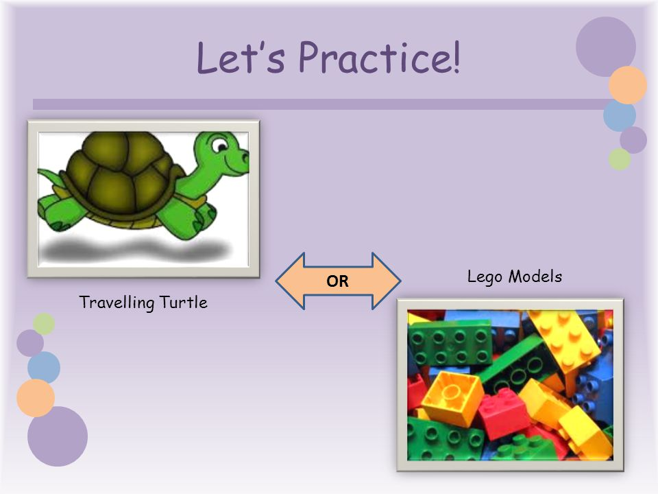Let's Practice! Travelling Turtle Lego Models OR