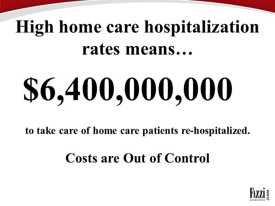©2012 $6,400,000,000 High home care hospitalization rates means… to take care of home care patients re-hospitalized. Costs are Out of Control