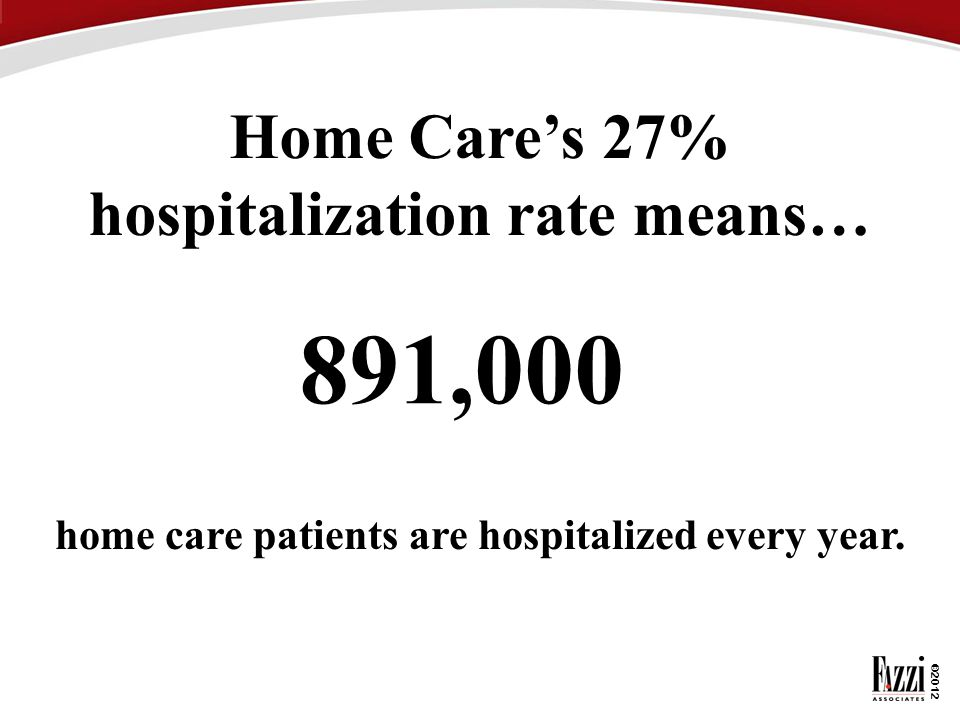 ©2012 891,000 home care patients are hospitalized every year. Home Care's 27% hospitalization rate means…
