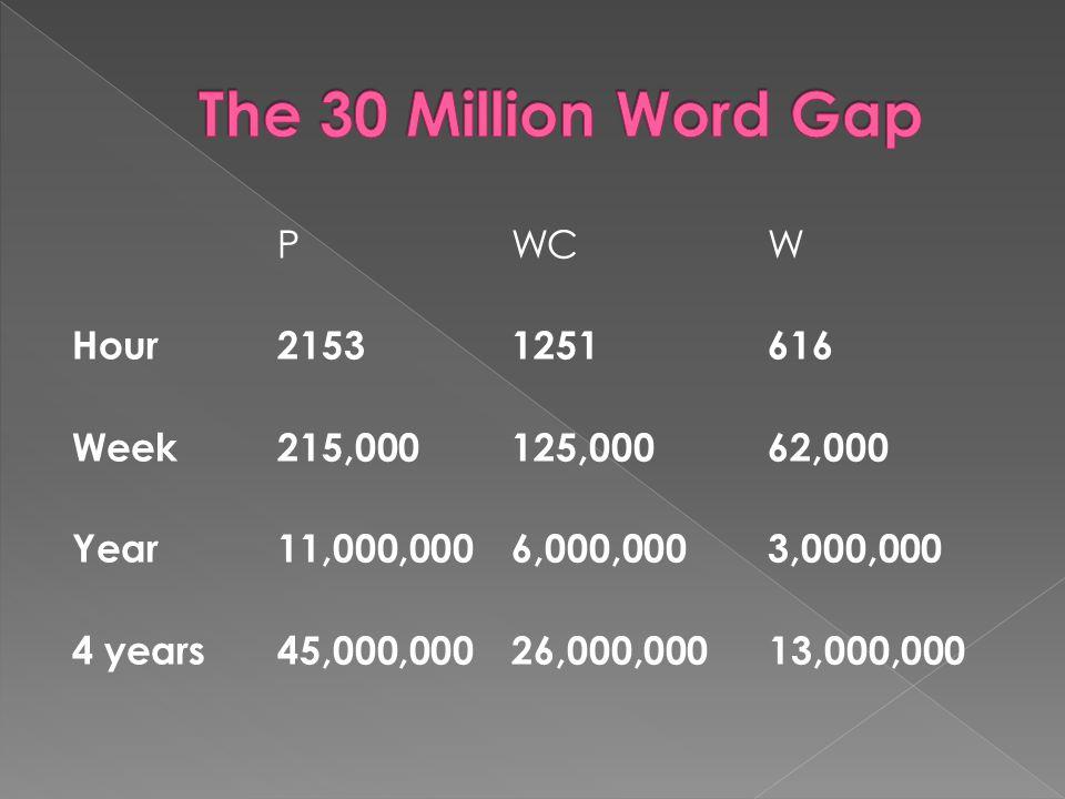 P WC W Hour 2153 1251 616 Week215,000 125,000 62,000 Year11,000,000 6,000,000 3,000,000 4 years45,000,000 26,000,000 13,000,000