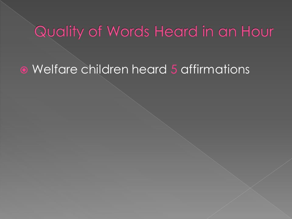  Welfare children heard 5 affirmations