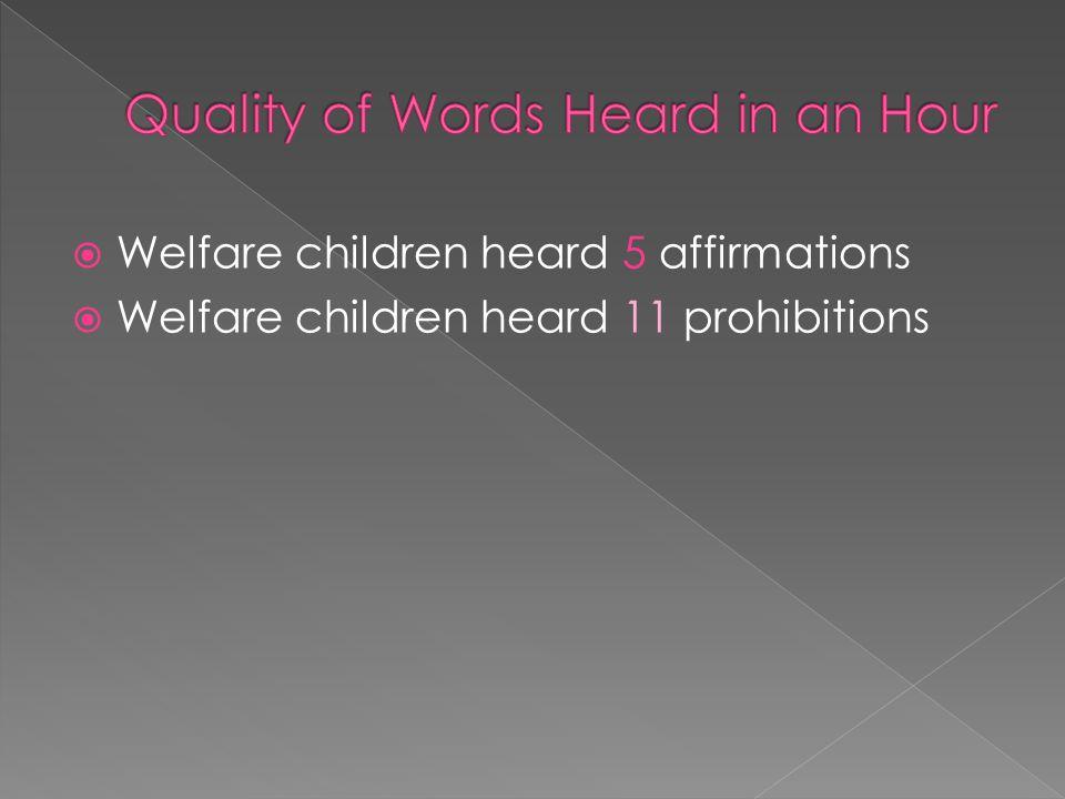  Welfare children heard 11 prohibitions