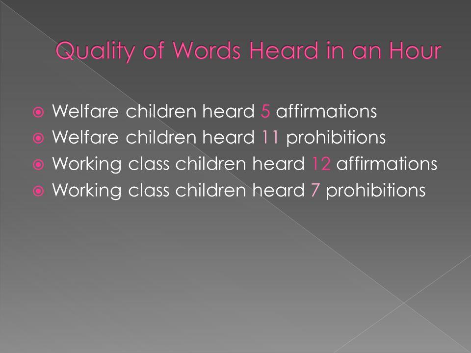  Welfare children heard 5 affirmations  Welfare children heard 11 prohibitions  Working class children heard 12 affirmations  Working class children heard 7 prohibitions