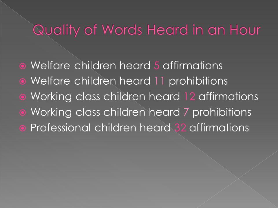  Welfare children heard 5 affirmations  Welfare children heard 11 prohibitions  Working class children heard 12 affirmations  Working class children heard 7 prohibitions  Professional children heard 32 affirmations