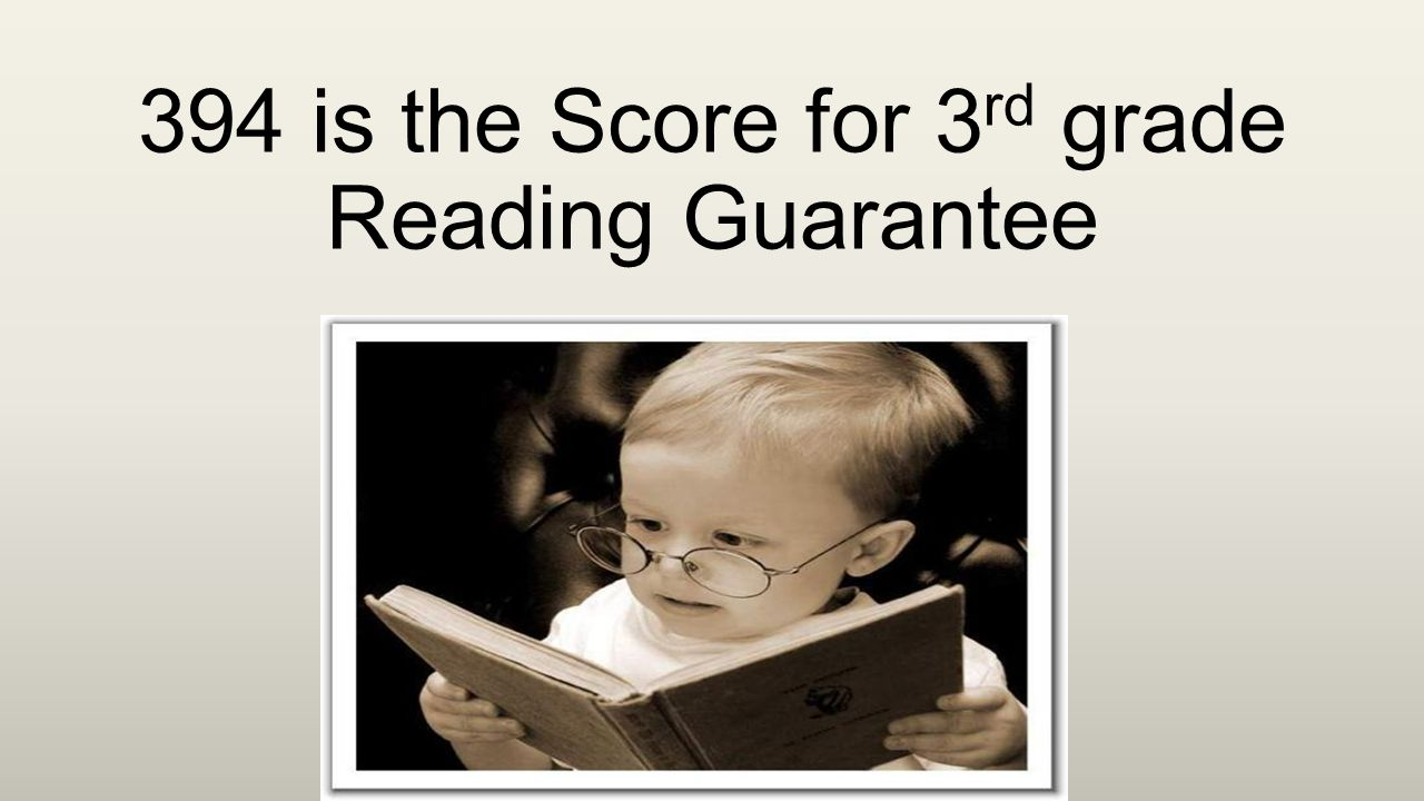394 is the Score for 3 rd grade Reading Guarantee