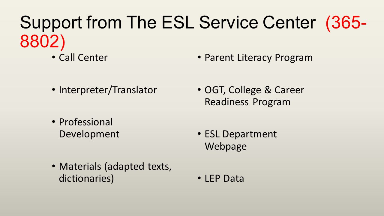 Support from The ESL Service Center (365- 8802) Call Center Interpreter/Translator Professional Development Materials (adapted texts, dictionaries) Parent Literacy Program OGT, College & Career Readiness Program ESL Department Webpage LEP Data