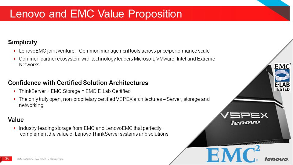 25 Lenovo and EMC Value Proposition Simplicity  LenovoEMC joint venture – Common management tools across price/performance scale  Common partner eco