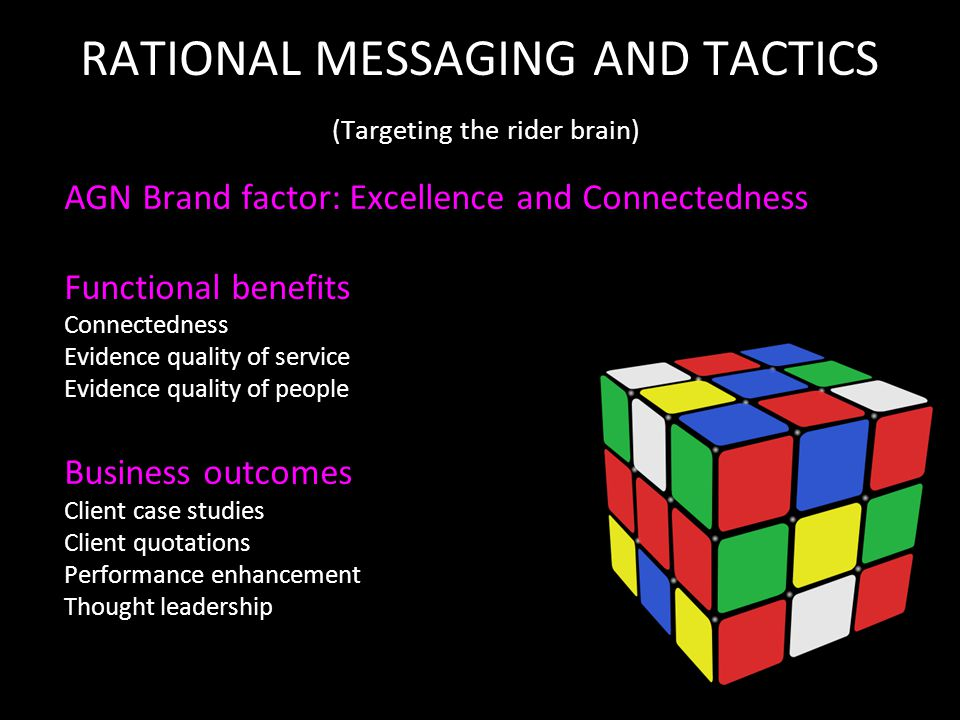 RATIONAL MESSAGING AND TACTICS (Targeting the rider brain) AGN Brand factor: Excellence and Connectedness Functional benefits Connectedness Evidence quality of service Evidence quality of people Business outcomes Client case studies Client quotations Performance enhancement Thought leadership