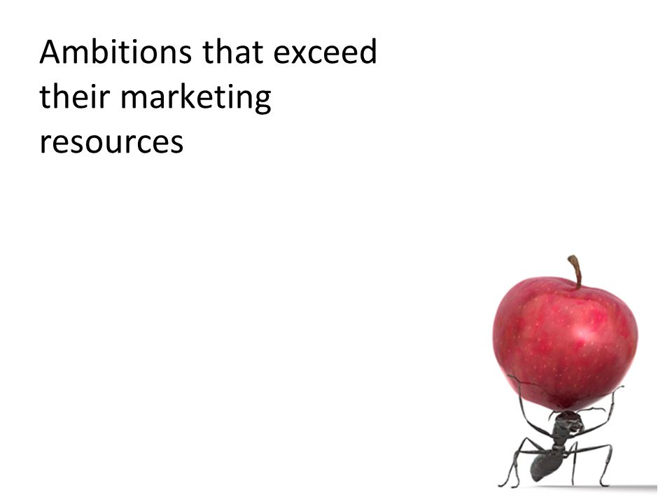 34 Ambitions that exceed their marketing resources