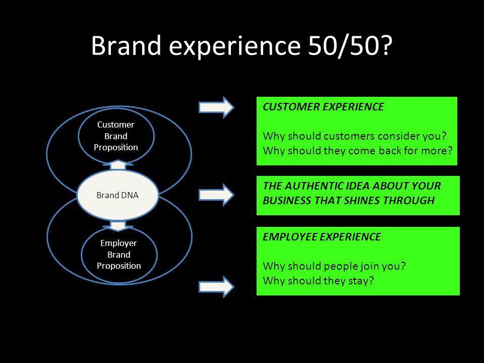 Brand experience 50/50.