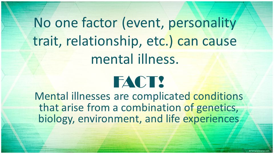 No one factor (event, personality trait, relationship, etc.) can cause mental illness.