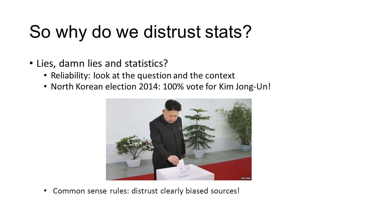 So why do we distrust stats.Lies, damn lies and statistics.