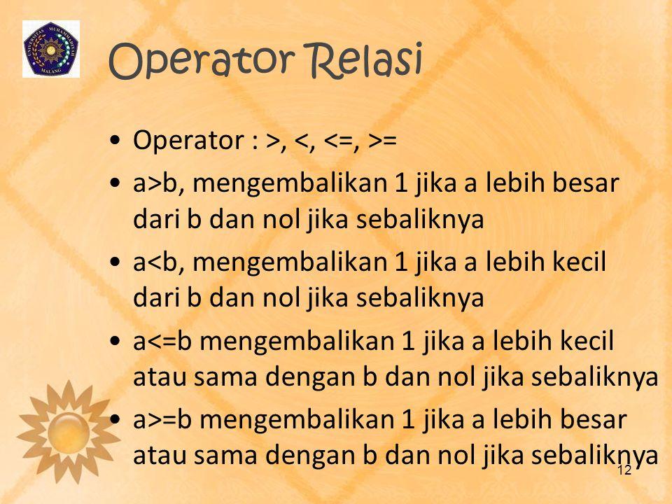 Operator Relasi Operator : >, = a>b, mengembalikan 1 jika a lebih besar dari b dan nol jika sebaliknya a<b, mengembalikan 1 jika a lebih kecil dari b