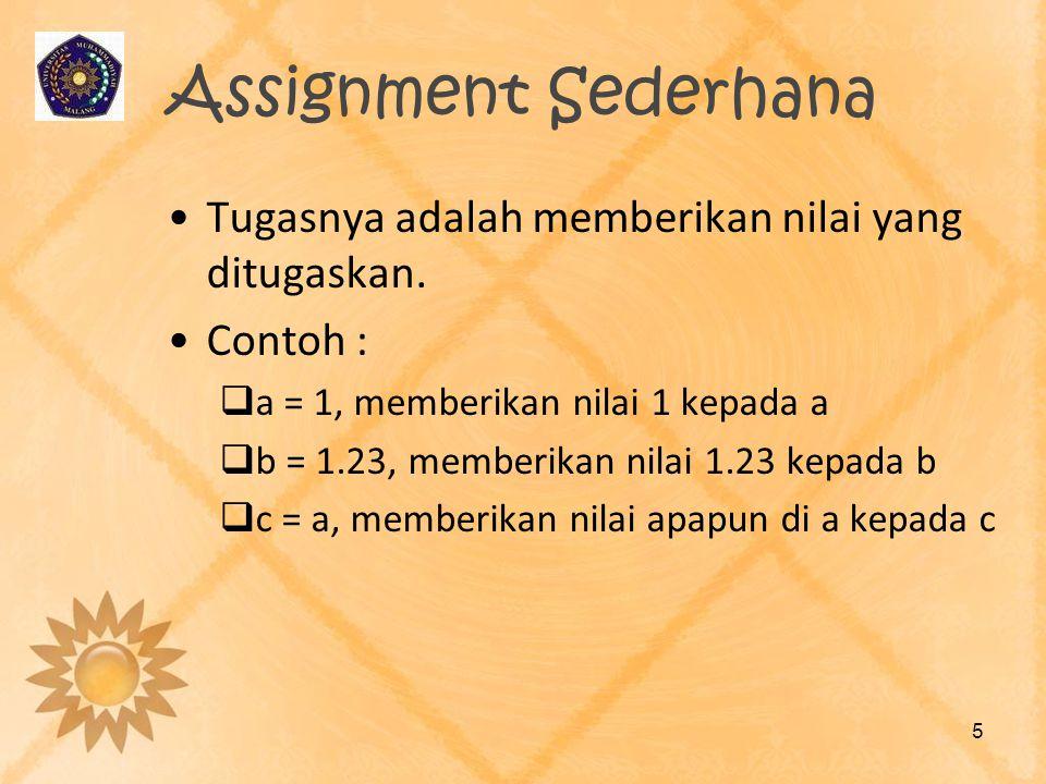 Assignment Sederhana Tugasnya adalah memberikan nilai yang ditugaskan. Contoh :  a = 1, memberikan nilai 1 kepada a  b = 1.23, memberikan nilai 1.23
