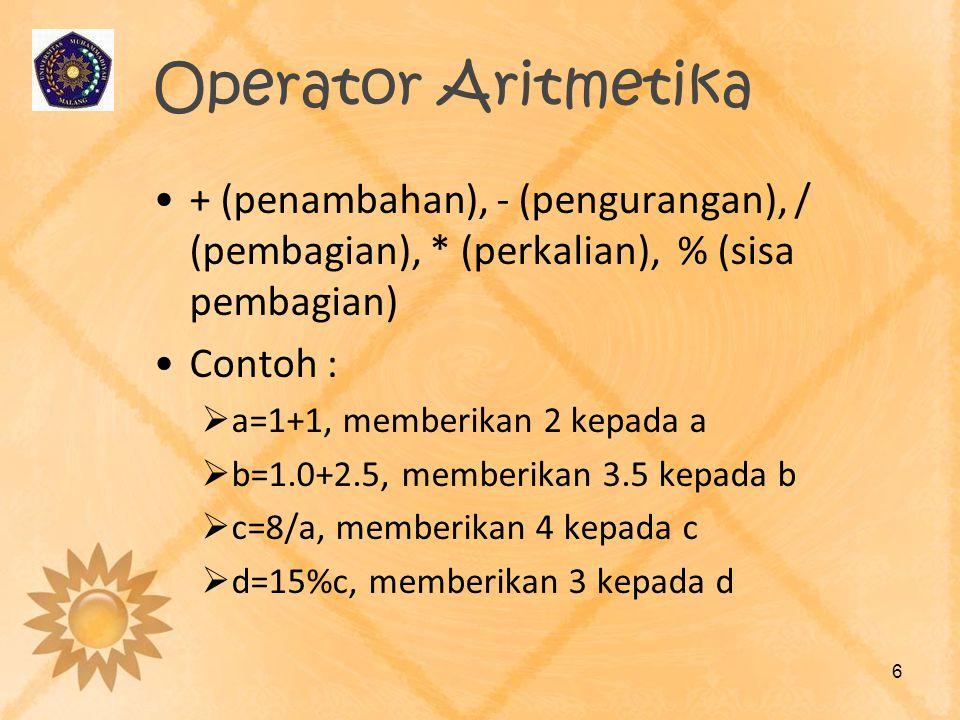 Operator Aritmetika + (penambahan), - (pengurangan), / (pembagian), * (perkalian), % (sisa pembagian) Contoh :  a=1+1, memberikan 2 kepada a  b=1.0+