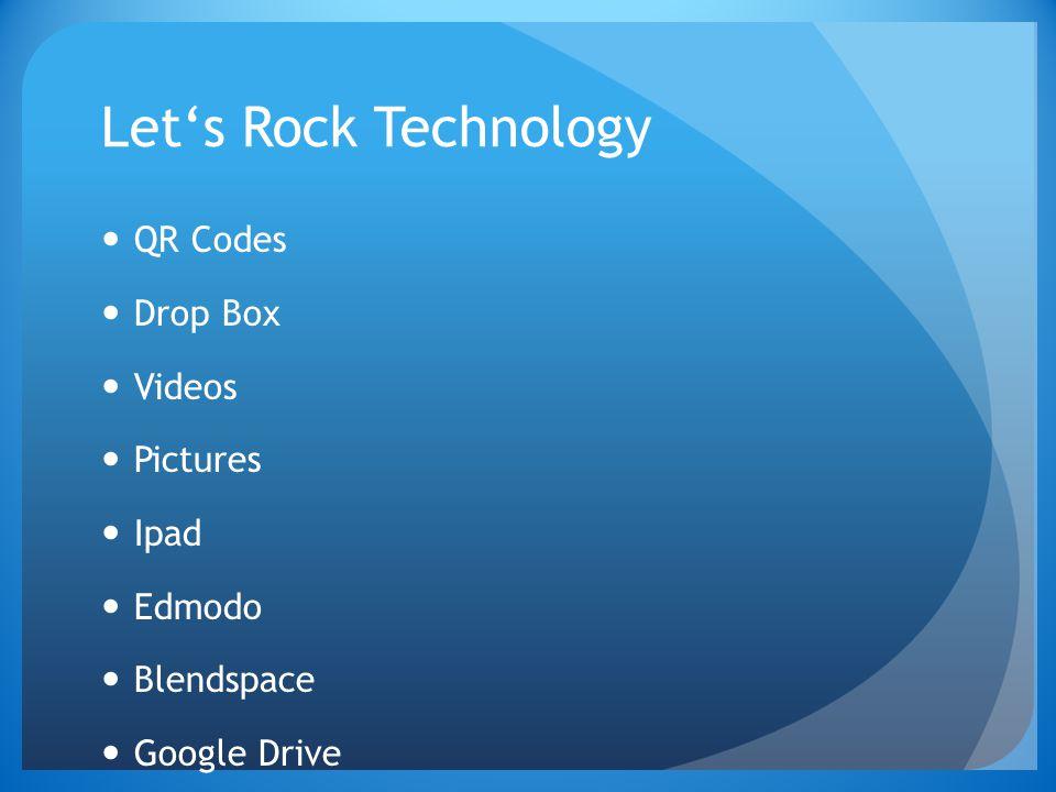 Let's Rock Technology QR Codes Drop Box Videos Pictures Ipad Edmodo Blendspace Google Drive Assessment