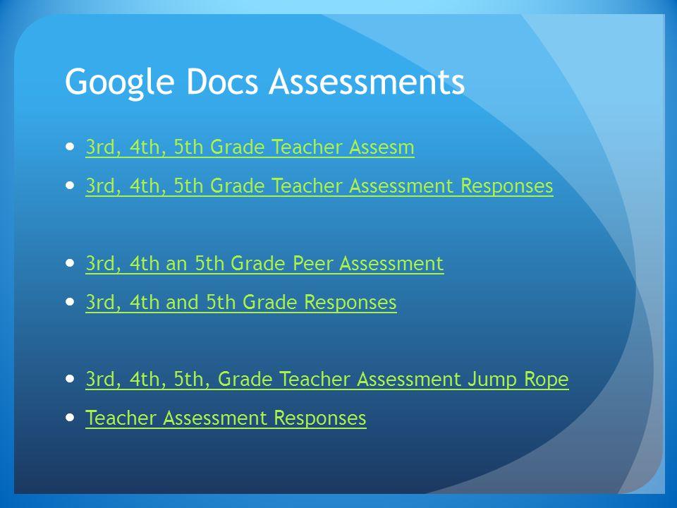 Google Docs Assessments 3rd, 4th, 5th Grade Teacher Assesm 3rd, 4th, 5th Grade Teacher Assessment Responses 3rd, 4th an 5th Grade Peer Assessment 3rd, 4th and 5th Grade Responses 3rd, 4th, 5th, Grade Teacher Assessment Jump Rope Teacher Assessment Responses