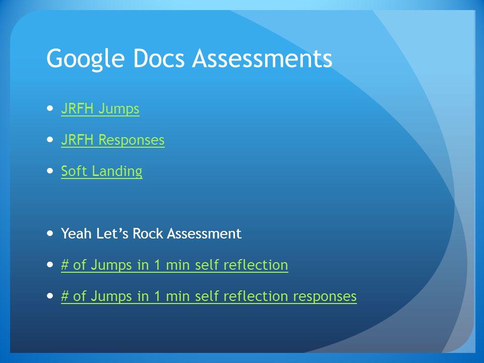 Google Docs Assessments JRFH Jumps JRFH Responses Soft Landing Yeah Let's Rock Assessment # of Jumps in 1 min self reflection # of Jumps in 1 min self reflection responses