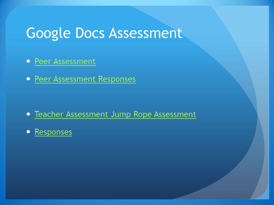 Google Docs Assessment Peer Assessment Peer Assessment Responses Teacher Assessment Jump Rope Assessment Responses