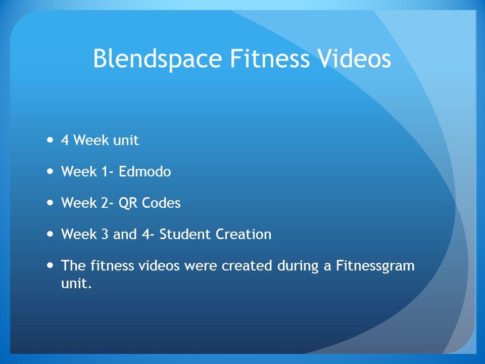 Blendspace Fitness Videos 4 Week unit Week 1- Edmodo Week 2- QR Codes Week 3 and 4- Student Creation The fitness videos were created during a Fitnessgram unit.