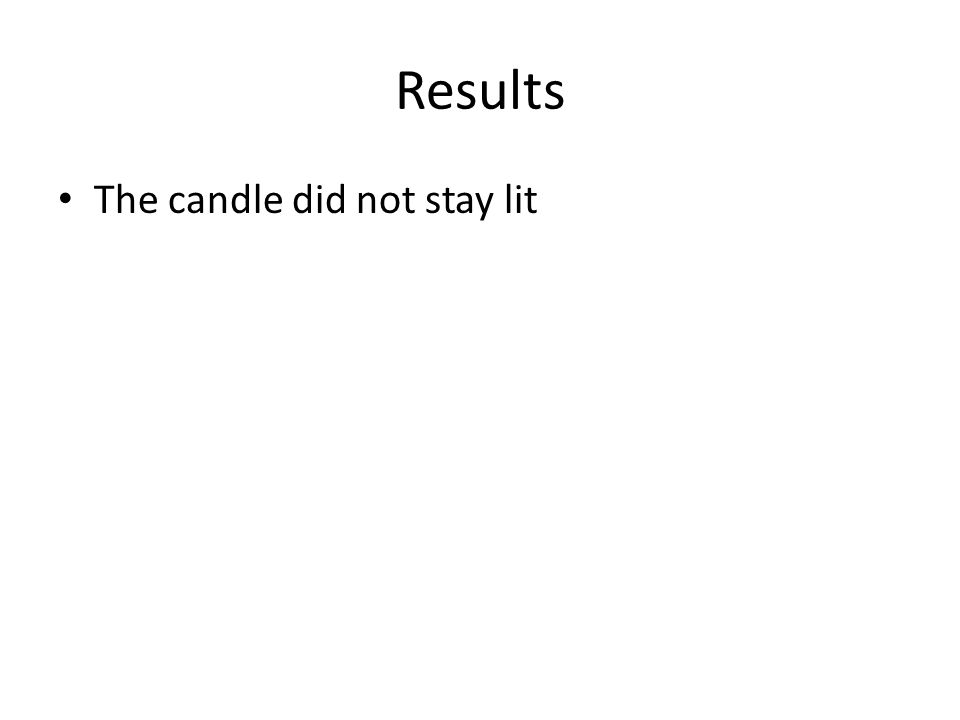Results The candle did not stay lit