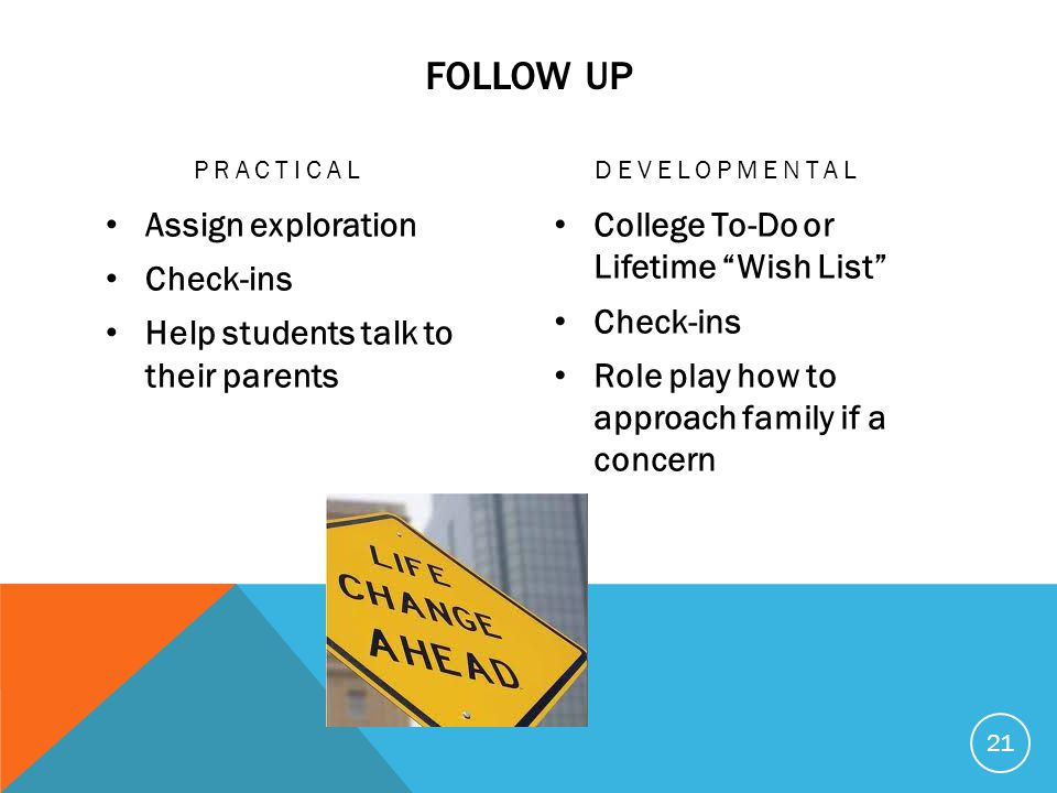 FOLLOW UP PRACTICAL Assign exploration Check-ins Help students talk to their parents DEVELOPMENTAL College To-Do or Lifetime Wish List Check-ins Role play how to approach family if a concern 21