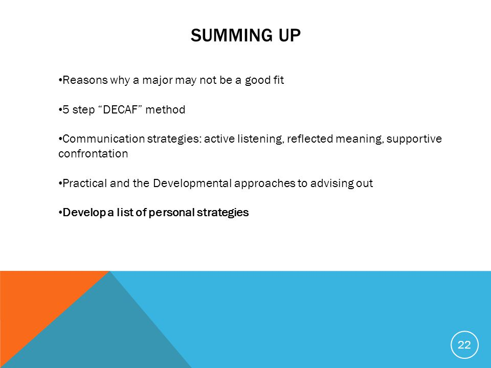 22 Reasons why a major may not be a good fit 5 step DECAF method Communication strategies: active listening, reflected meaning, supportive confrontation Practical and the Developmental approaches to advising out Develop a list of personal strategies SUMMING UP