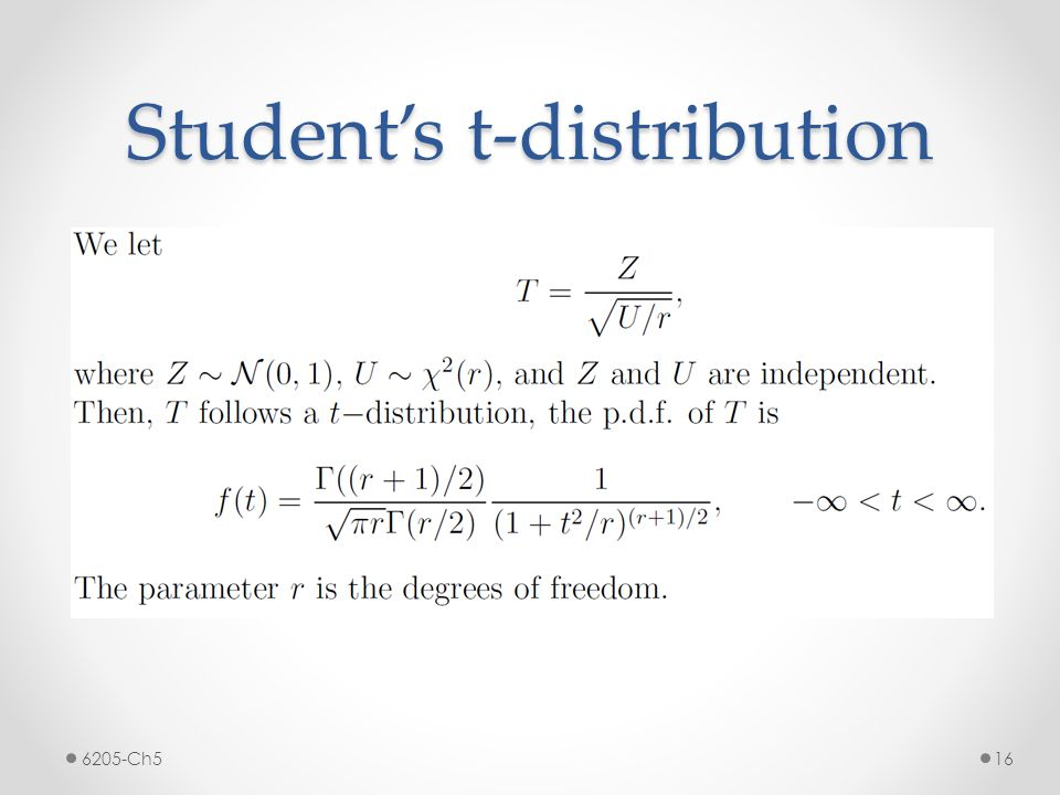 Student's t-distribution 6205-Ch516