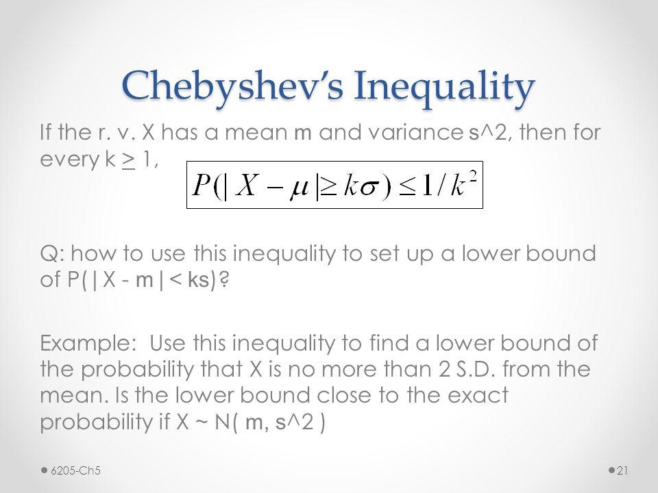 Chebyshev's Inequality If the r. v.