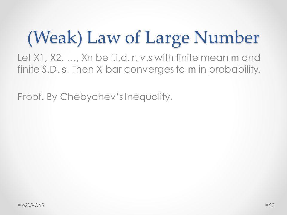 (Weak) Law of Large Number Let X1, X2, …, Xn be i.i.d.