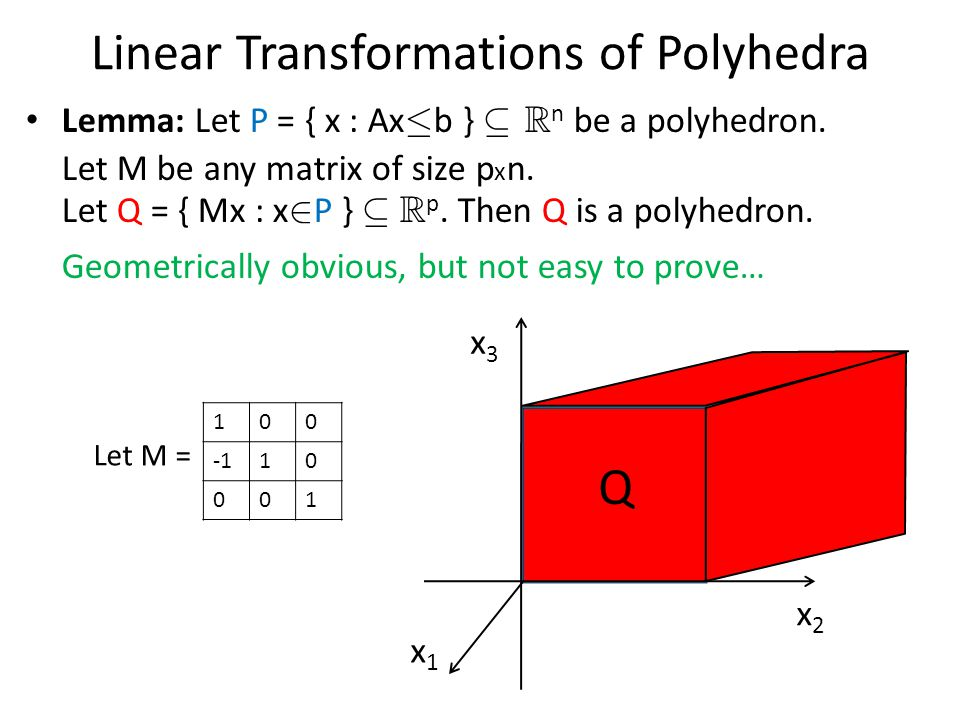 Linear Transformations of Polyhedra Lemma: Let P = { x : Ax · b } µ R n be a polyhedron.