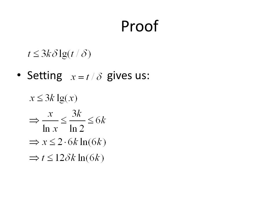 Proof Setting gives us: