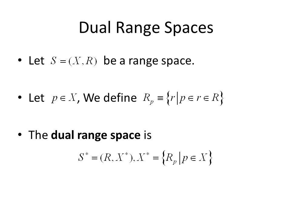 Dual Range Spaces Let be a range space. Let, We define The dual range space is