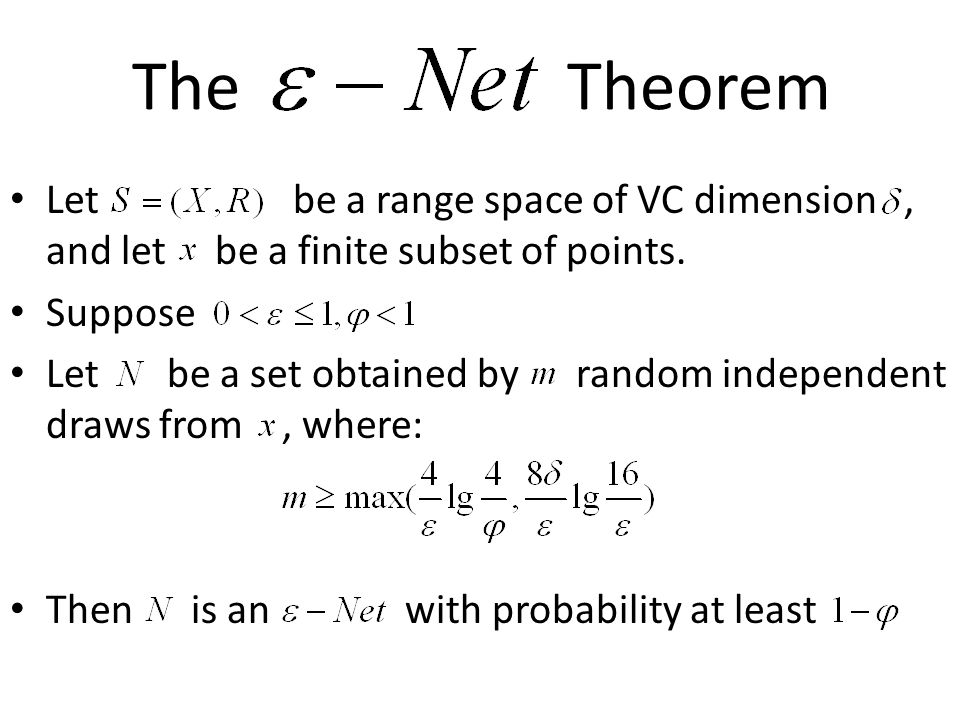 The Theorem Let be a range space of VC dimension, and let be a finite subset of points.