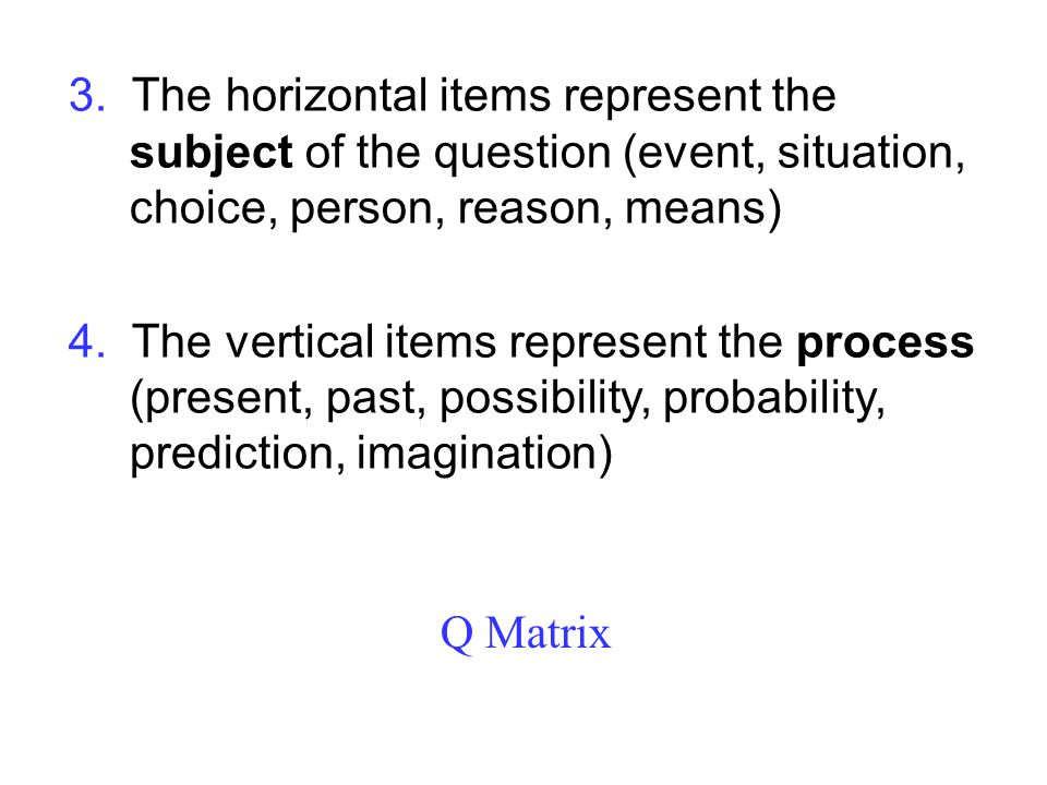 Q Matrix 3. The horizontal items represent the subject of the question (event, situation, choice, person, reason, means) 4. The vertical items represe