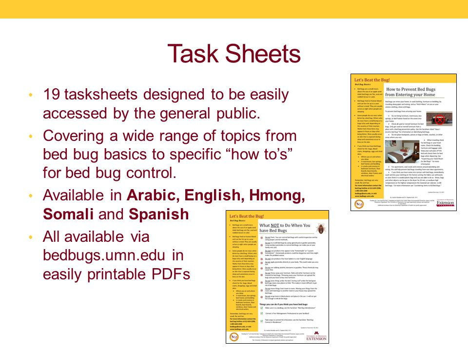 Task Sheets 19 tasksheets designed to be easily accessed by the general public.