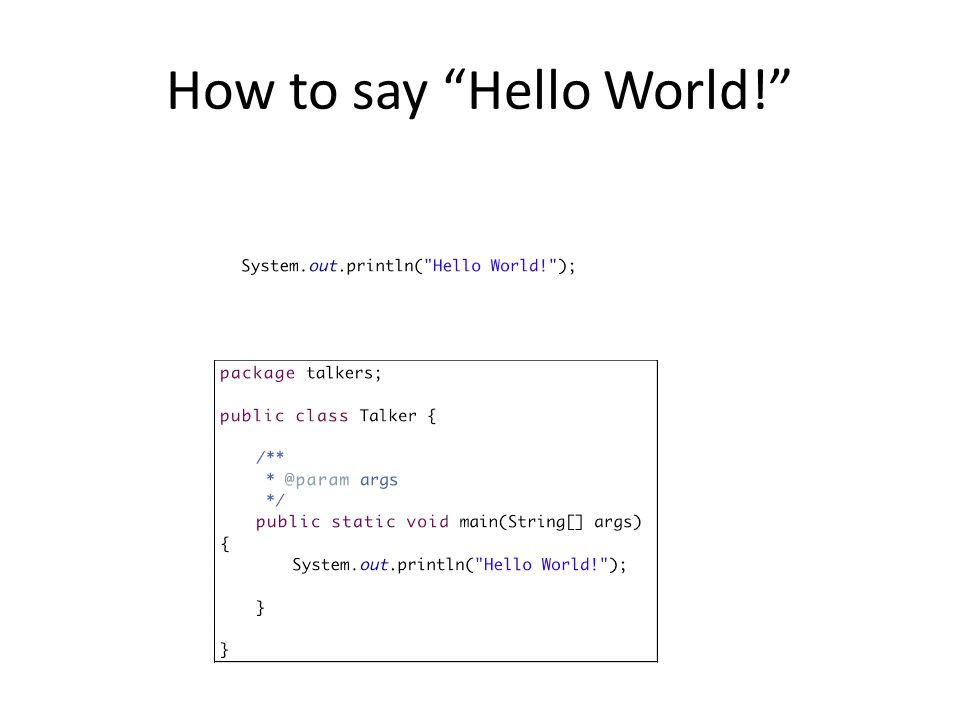 How to say Hello World!