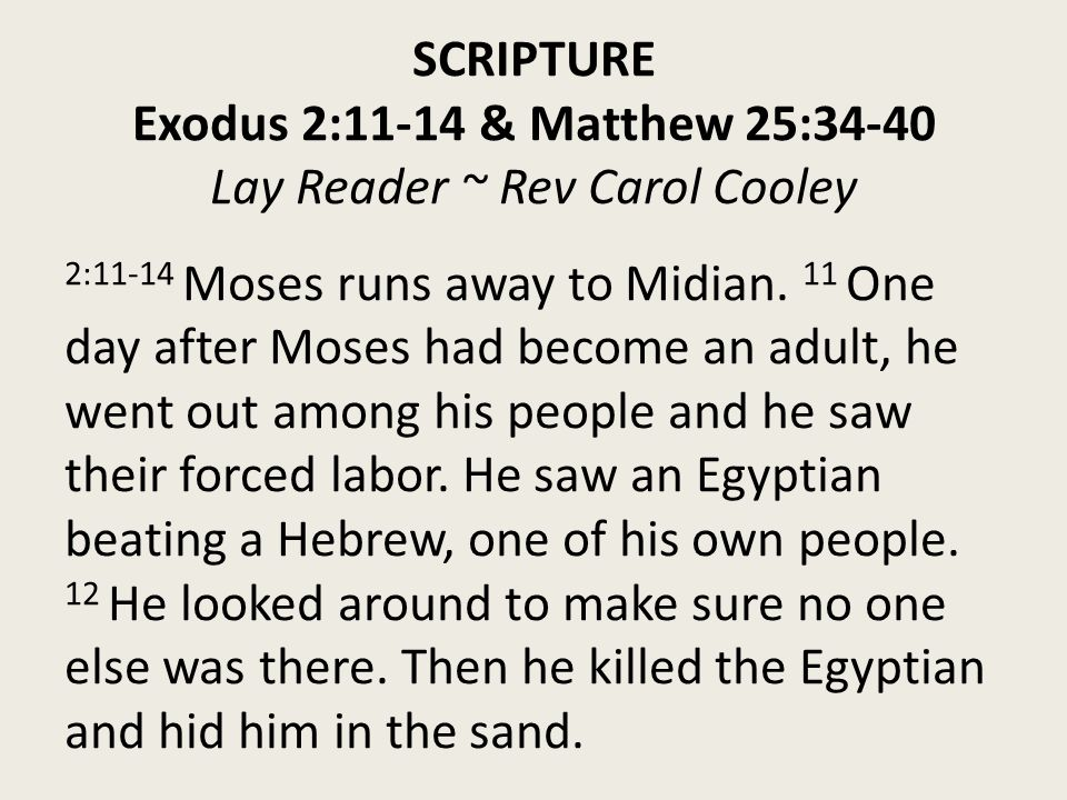SCRIPTURE Exodus 2:11-14 & Matthew 25:34-40 Lay Reader ~ Rev Carol Cooley 2:11-14 Moses runs away to Midian.
