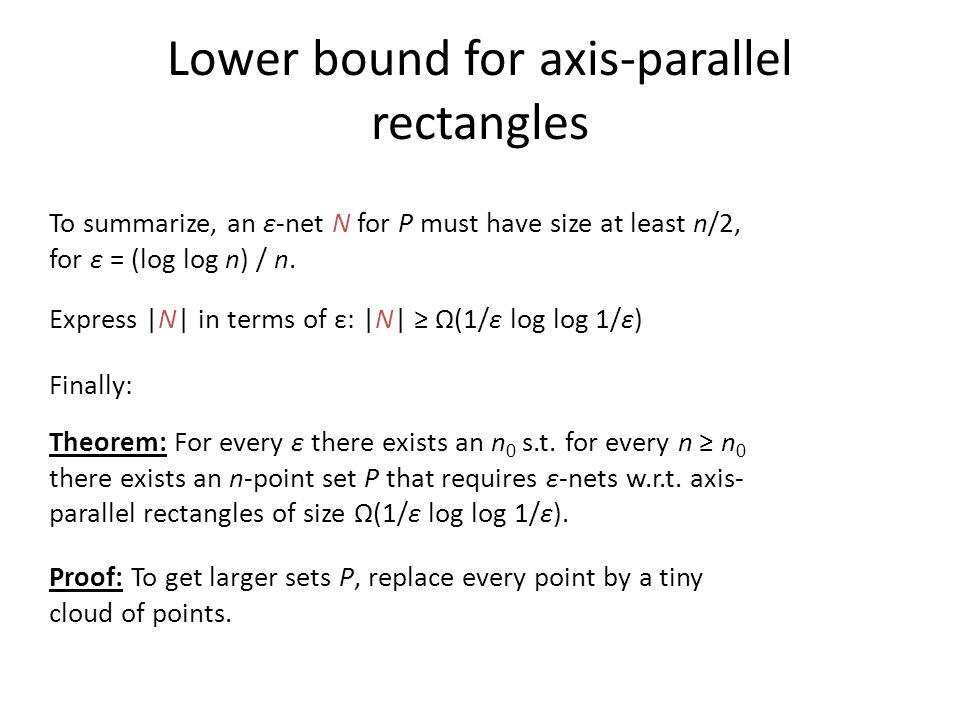 Lower bound for axis-parallel rectangles To summarize, an ε-net N for P must have size at least n/2, for ε = (log log n) / n. Express |N| in terms of