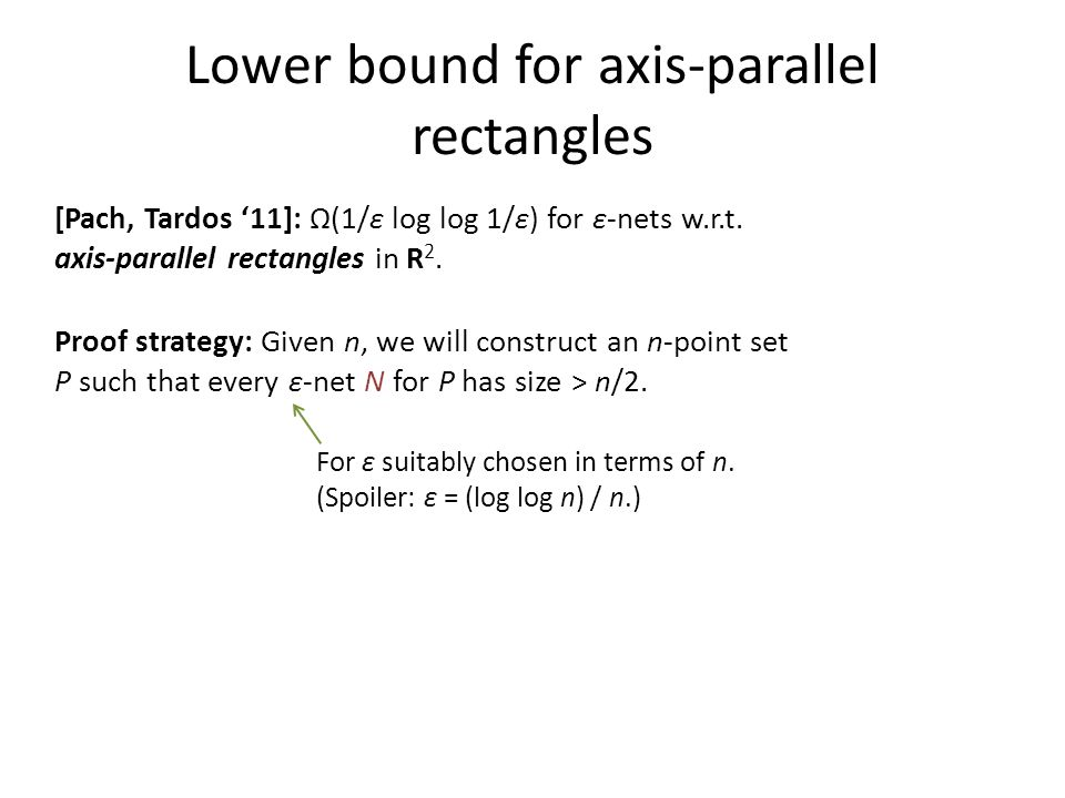 Lower bound for axis-parallel rectangles [Pach, Tardos '11]: Ω(1/ε log log 1/ε) for ε-nets w.r.t.