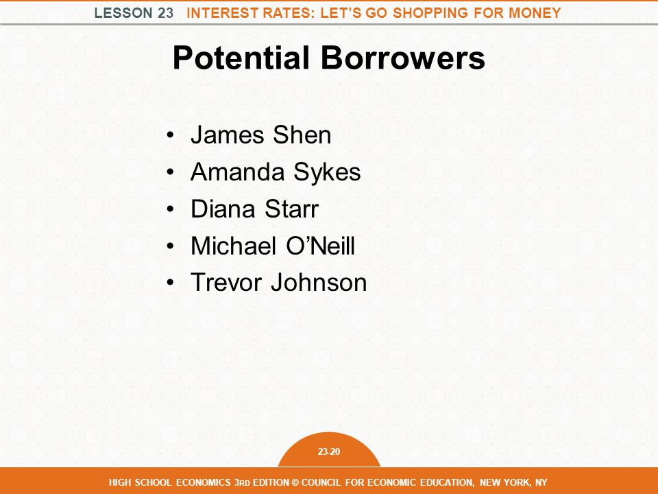 LESSON 23 INTEREST RATES: LET'S GO SHOPPING FOR MONEY 23-20 HIGH SCHOOL ECONOMICS 3 RD EDITION © COUNCIL FOR ECONOMIC EDUCATION, NEW YORK, NY Potential Borrowers James Shen Amanda Sykes Diana Starr Michael O'Neill Trevor Johnson