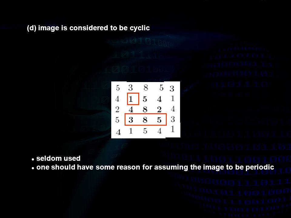 (d) image is considered to be cyclic seldom used one should have some reason for assuming the image to be periodic