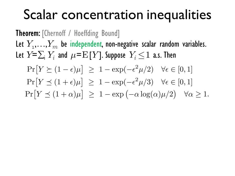 Scalar concentration inequalities Theorem: [Chernoff / Hoeffding Bound] Let Y 1,…, Y m be independent, non-negative scalar random variables. Let Y = 