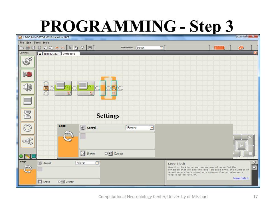 PROGRAMMING - Step 3 Computational Neurobiology Center, University of Missouri17 Settings