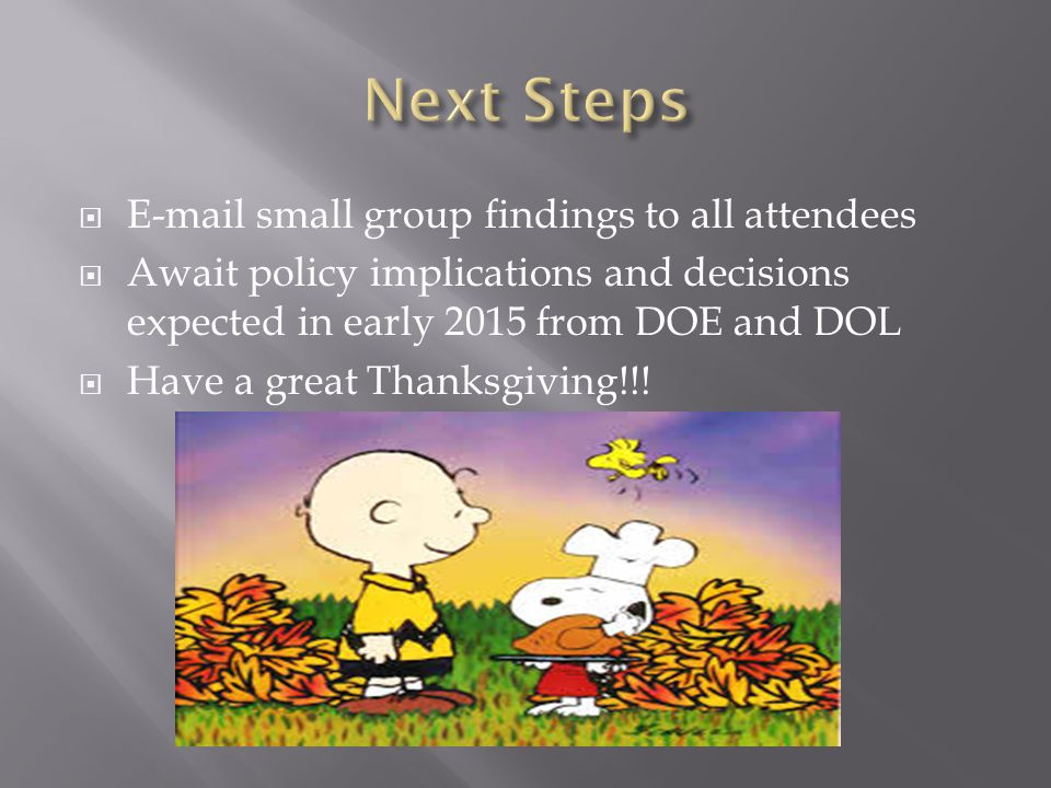  E-mail small group findings to all attendees  Await policy implications and decisions expected in early 2015 from DOE and DOL  Have a great Thanksgiving!!!