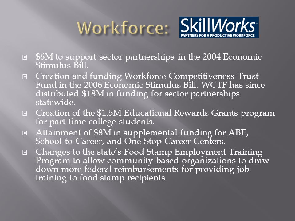  $6M to support sector partnerships in the 2004 Economic Stimulus Bill.