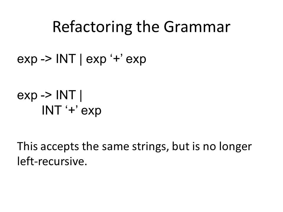 Refactoring the Grammar exp -> INT | exp '+' exp exp -> INT | INT '+' exp This accepts the same strings, but is no longer left-recursive.