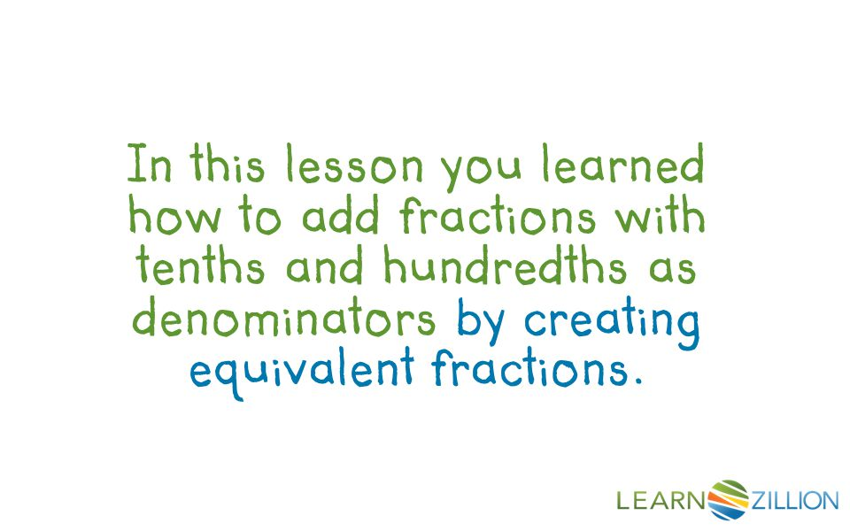 In this lesson you learned how to add fractions with tenths and hundredths as denominators by creating equivalent fractions.