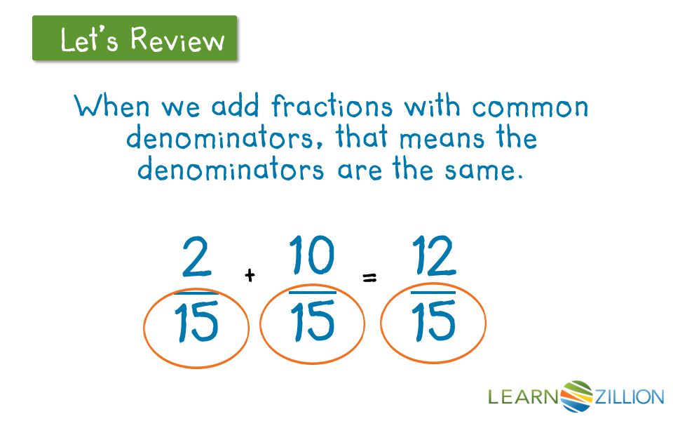 When we add fractions with common denominators, that means the denominators are the same. + =