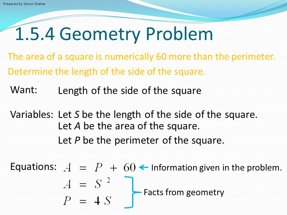 1.5.4 Geometry Problem The area of a square is numerically 60 more than the perimeter. Determine the length of the side of the square. Want: Variables